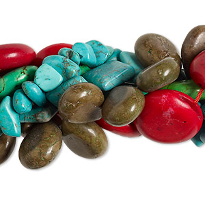 Bead Mix, Magnesite (dyed / Stabilized), Mixed Colors, 8x7mm-48x41mm Mixed Shape, D Grade, Mohs Hardness 3-1/2 4. Sold Per Pkg (5) 16-inch Strands