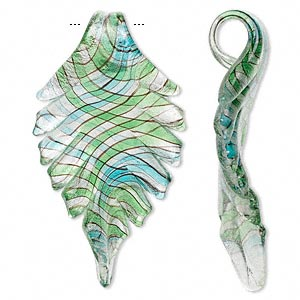 Focal, Lampworked Glass, Blue / Green / Black Silver-color Foil, 72x40mm Wavy Leaf. Sold Individually