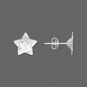 Earstud, Sterling Silver, 9x9mm Star 6mm Cup. Sold Per Pair
