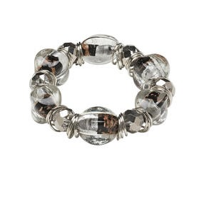 Bracelet, Stretch, Lampworked Glass Silver-coated Plastic, White Black, Oval, 7-1/2 Inches. Sold Individually 1671JD
