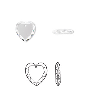 Drop, Swarovski® Crystals, Crystal Passions®, Crystal Clear, 10x10mm Faceted Heart Pendant (6225). Sold Individually 6225