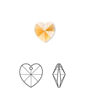 Drop, Swarovski® Crystals, Crystal Passions®, Topaz, 10x10mm Xilion Heart Pendant (6228). Sold Per Pkg 2 6228