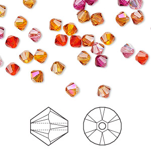 Bead, Swarovski® Crystals, Crystal Passions®, Sizzle, 4mm Xilion Bicone (5328). Sold Per Pkg 144 (1 Gross) 5328