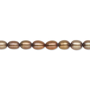 Pearl, Cultured Freshwater (dyed), Antique Copper, 4-5mm Rice, C Grade, Mohs Hardness 2-1/2 4. Sold Per 16-inch Strand