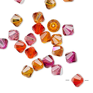 Bead, Swarovski® Crystals, Crystal Passions®, Sizzle, 6mm Xilion Bicone (5328). Sold Per Pkg 144 (1 Gross) 5328