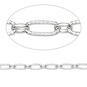Chain, Sterling Silver, 6x3mm Ribbed Cable 3x2mm Ring. Sold Per Pkg 5 Feet