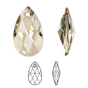 Focal, Swarovski® Crystals, Crystal Passions®, Crystal Golden Shadow, 38x22mm Faceted Pear Pendant (6106). Sold Individually 6106