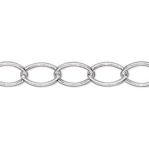 Chain, Sterling Silver, 12x9mm Cable. Sold Per Pkg 5 Feet