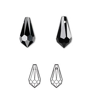 Drop, Swarovski® Crystals, Crystal Passions®, Jet, 15x7.5mm Faceted Teardrop Pendant (6000). Sold Per Pkg 2 6000