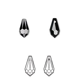 Drop, Swarovski® Crystals, Crystal Passions®, Jet, 11x5.5mm Faceted Teardrop Pendant (6000). Sold Per Pkg 2 6000