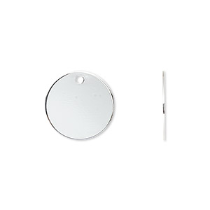 Drop, Silver-plated Brass, 15mm Flat Round. Sold Per Pkg 50