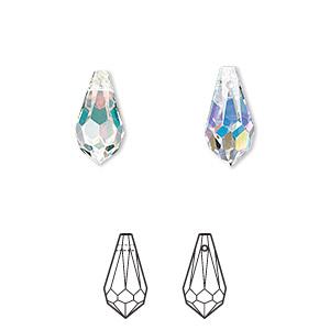 Drop SwarovskiR Crystals Crystal PassionsR AB 13x65mm Faceted Teardrop Pendant 6000 Sold Per Pkg Of 2