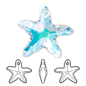 Focal, Swarovski® Crystals, Crystal Passions®, Crystal AB, 41x40mm Faceted Starfish Pendant (6721). Sold Individually 6721