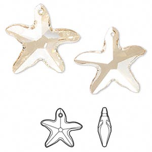 Focal, Swarovski® Crystals, Crystal Passions®, Crystal Golden Shadow, 41x40mm Faceted Starfish Pendant (6721). Sold Individually 6721