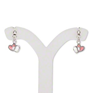 Earring, Sterling Silver Enamel, White / Pink / Purple / Red, 7x5mm Single-sided Double Heart Drop Earstud, 13x7mm Overall, Earnuts Included. Sold Per Set 3 Pairs 1713JC
