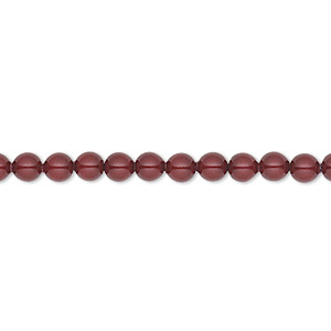 Pearl, Swarovski® Crystals, Bordeaux, 4mm Round (5810). Sold Per Pkg 100 5810