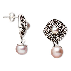 Earstud Earrings Freshwater Pearl Silver Colored