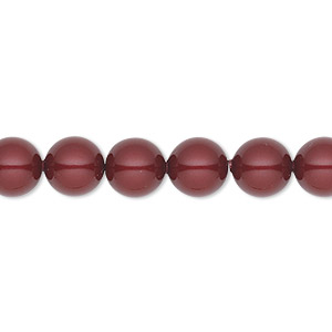 Pearl, Swarovski® Crystals, Bordeaux, 8mm Round (5810). Sold Per Pkg 50 5810