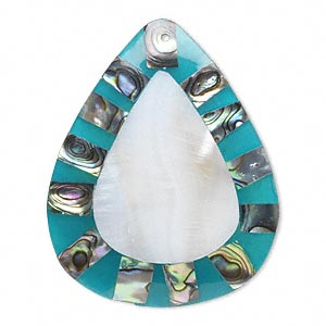 Focal, Shell (assembled) Resin, Teal Blue White, 58x44mm Single-sided Teardrop. Sold Individually