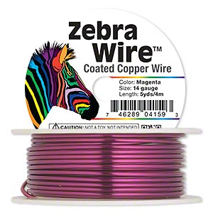 Wire, Zebra Wire™, Color-coated Copper, Magenta, Round, 14 Gauge. Sold Per 5-yard Spool 1733WR
