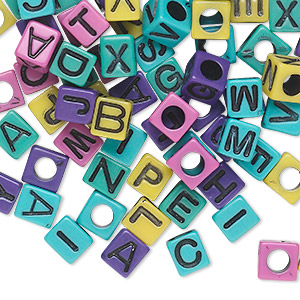 Bead Mix, Acrylic, Opaque Mixed Colors, 7x7mm Cube Alphabet Letters 4mm Hole. Sold Per Pkg 100