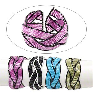 Bracelet Mix, 21-strand, Glass Steel Memory Wire, Mixed Colors, 35-40mm Wide, Adjustable. Sold Per Pkg 4 1765JU