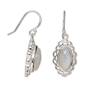 Fishhook Earrings Rainbow Moonstone Whites