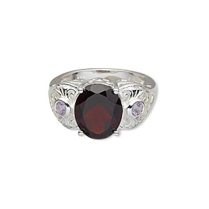 Finger Rings Garnet Silver Colored