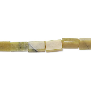 "Bead, Olive New ""jade"" (natural), 15x8mm-17x12mm Flat Rectangle, C Grade, Mohs Hardness 2-1/2 6. Sold Per 15-inch Strand"