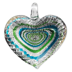 Focal, Lampworked Glass, Green Blue Silver-colored Foil, 42x40mm Single-sided Wavy Heart Swirl Design. Sold Individually