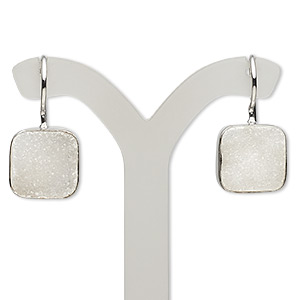 Fishhook Earrings Druzy Agate Whites