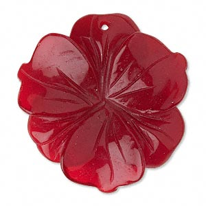"Focal, Red ""quartz"" Glass, 38-40mm Flower. Sold Individually"