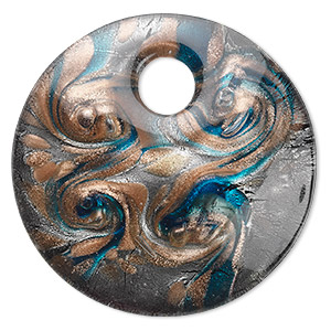 Focal, Lampworked Glass, Blue Silver-colored Foil Copper-colored Glitter, 50mm Single-sided Round. Sold Individually
