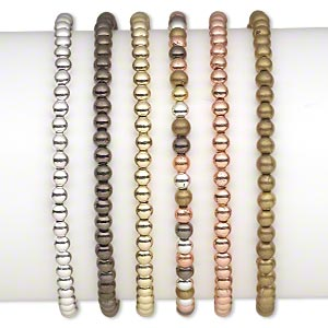 Bracelet, Stretch, Gold- / Silver- / Bronze- / Gunmetal-coated Plastic, 4mm Round, 7 Inches. Sold Per Pkg 6 1811JU