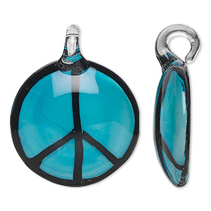 Focal, Lampworked Glass, Turquoise Blue Black, 38mm Single-sided Round Peace Sign. Sold Individually