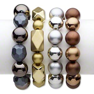 Bracelet, Stretch, Acrylic, Matte Shiny Assorted Colors, 16-17mm Wide, 6-1/2 Inches. Sold Per Pkg 4 1830JU