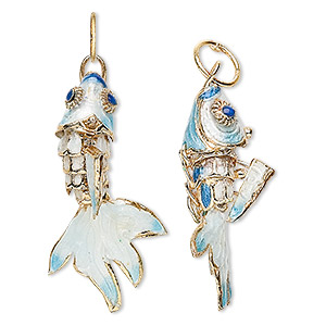 Focal, Enamel Gold-finished Brass, Light Blue Multicolored, 32x16mm-38x23mm Articulated Fish. Sold Per Pkg 2