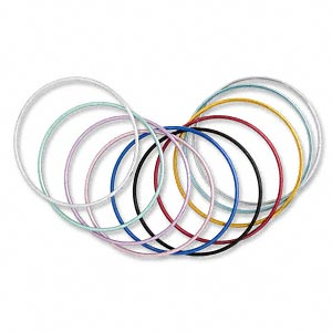 Bracelet, Bangle, Aluminum, Assorted Colors, 2mm Wide, 7-1/2 Inches. Sold Per Pkg 10 1843JE