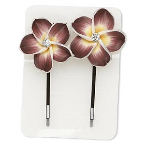 Hairpin, Polymer Clay / Glass Rhinestone / Steel, Multicolored, 60x30mm Flower. Sold Per Pkg 2 1850JU