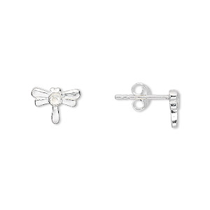 Earstud, Sterling Silver, 13x10mm Dragonfly 2.5mm Chaton Cup, Pp18. Sold Per Pair