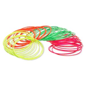 Bracelet, Bangle, Steel, Assorted Neon Colors, 1mm Wide Textured Band, 8 Inches. Sold Per Pkg 60 1861JU