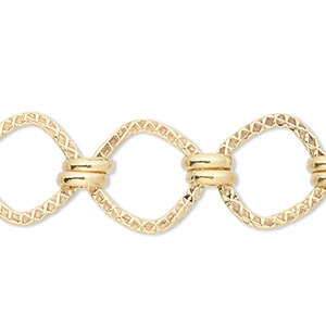 Chain, 14Kt Gold-filled, 3mm Double Round 8x8mm Knurled Square. Sold Per Pkg 5 Feet