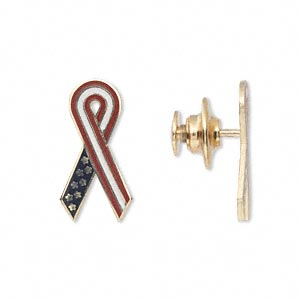 Spot Pin, 14Kt Gold Enamel Gold-finished Brass, Red / White / Blue, 20x10mm Awareness Ribbon Gold-finished Brass Clutch Pin Back. Sold Individually 1864FS
