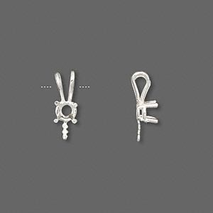 Pendant, JBB Findings, Fine Silver, 15x6mm 4-prong 4mm Round Setting 4.5mm Peg. Sold Individually 6415F-FINE SIL 4MM
