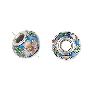 Bead, Dione®, Cloisonné, Enamel Silver-plated Brass Grommets, Blue / Pink / Green, 14x10mm Rondelle Flower Leaves Design, 5mm Hole. Sold Per Pkg 4 1877BB