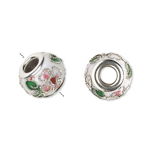 Bead, Dione®, Cloisonné, Enamel Silver-plated Brass Grommets, White / Pink / Green, 14x10mm Rondelle Flower Leaves Design, 5mm Hole. Sold Per Pkg 4 1880BB
