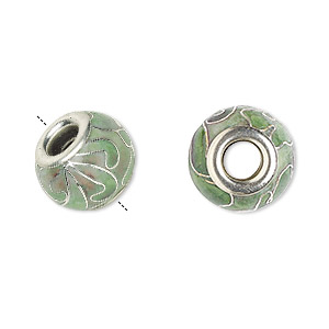 Bead, Dione®, Cloisonné, Enamel Silver-plated Brass Grommets, Light Green, 14x10mm Rondelle Flower Design 5mm Hole. Sold Per Pkg 4 1884BB