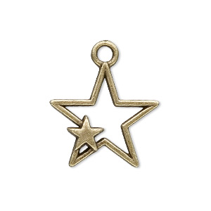 "Charm, Antique Brass-plated ""pewter"" (zinc-based Alloy), 27x22mm Star. Sold Per Pkg 20"