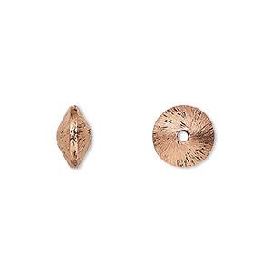 Bead, Antiqued Copper, 10x7mm Brushed Saucer. Sold Per Pkg 20