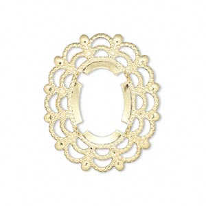 Focal, Gold-plated Brass, 30x25mm Oval 18x13mm Oval Setting. Sold Per Pkg 12
